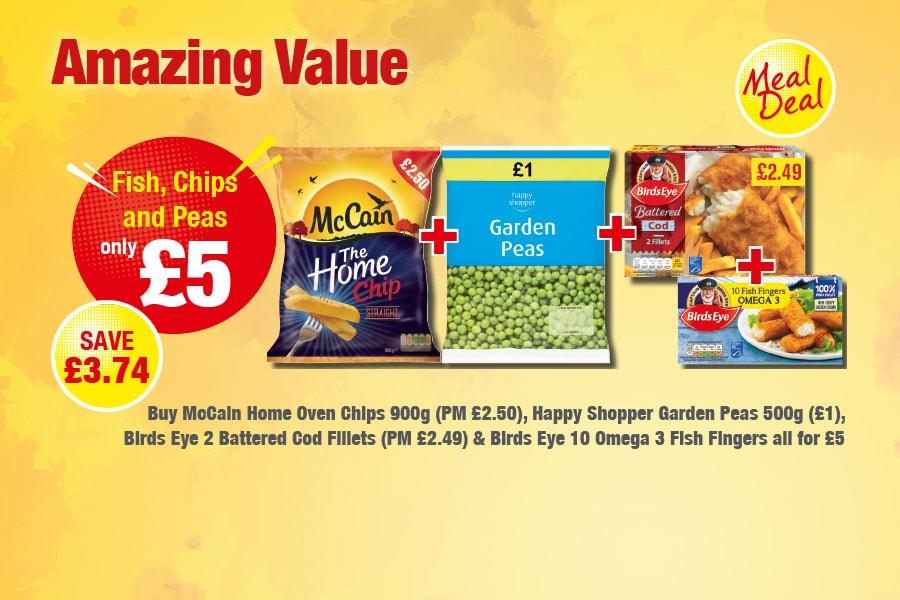 Amazing Value Meal Deal: Fish, Chips and Peas - Only £5 at Premier