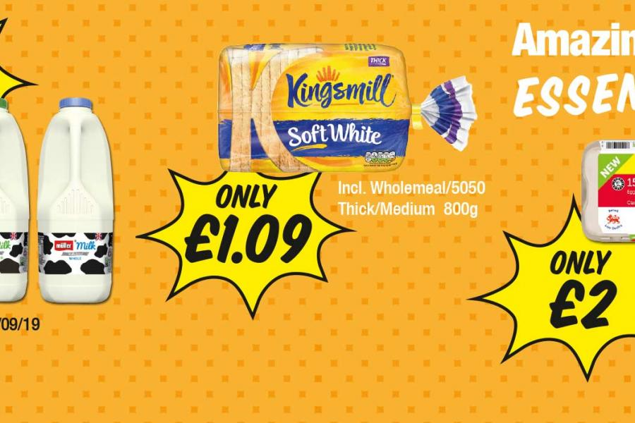 Amazing Value Essentials: Milk - Any 2 for £2. Kingsmill Bread - Only £1.09, Family Shopper Eggs 15 Pack - Only £2 at Premier