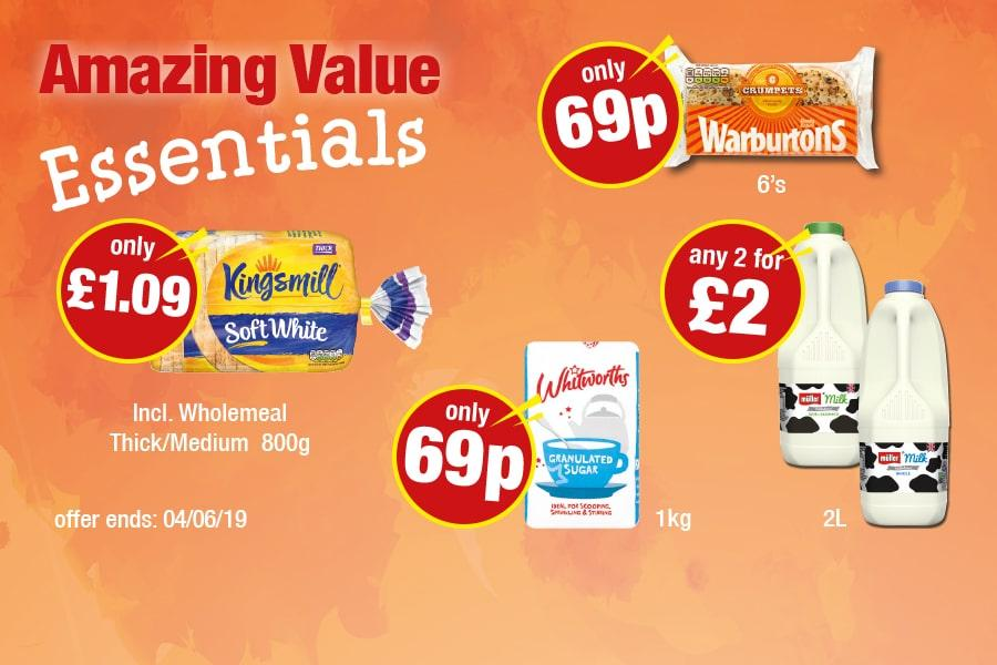 Amazing Value Essentials: Kingsmill Bread - Only £1, Warburtons Crumpets - Only 69p, Whitworths Sugar - Only 69p, Milk - Any 2 for £2 at Premier