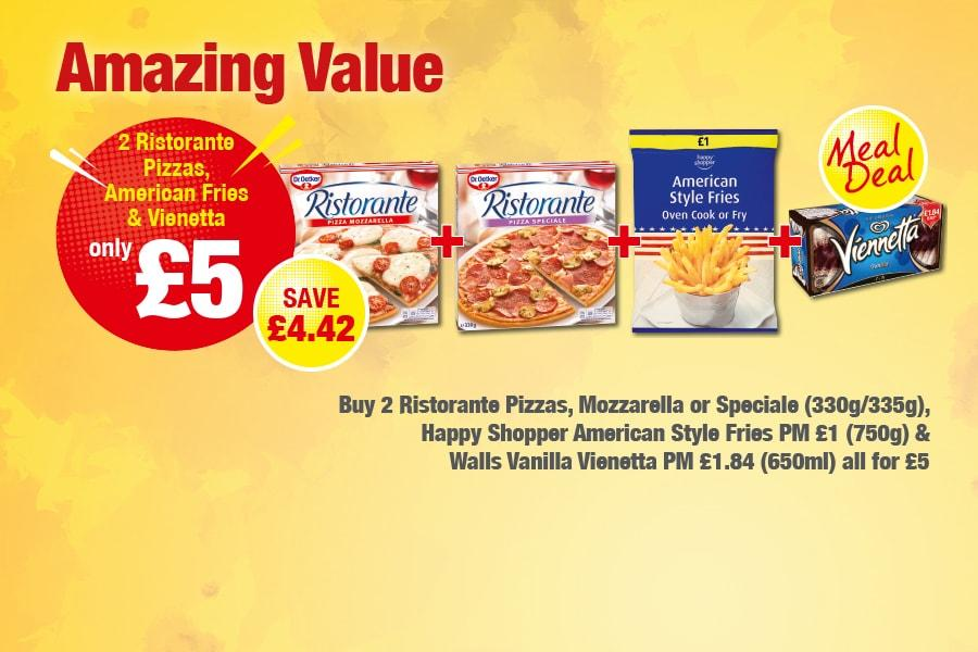 2 Ristorante Pizzas, American Fries & Vienetta - Only £5
