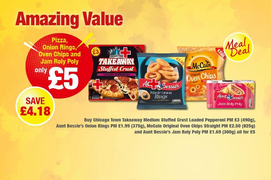 MEAL DEAL: Pizza, Onion Rings, Oven Chips and Jam Roly Poly - Only £5 at Premier