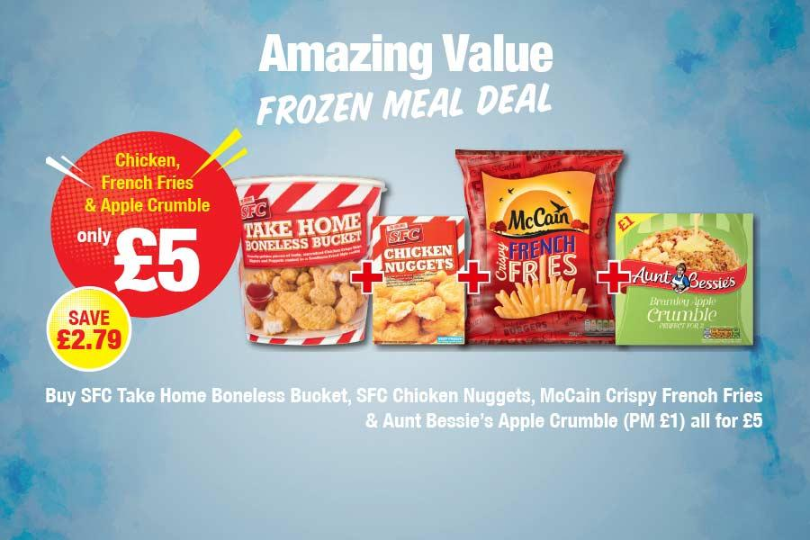 Buy SFC Take Home Boneless Bucket,  SFC Chicken Nuggets, McCain Crispy French Fries & Aunt Bessie's Apple Crumble (PM £1) all for £5 at Premier