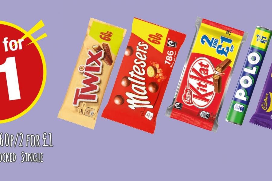 Any 2 for £1 Twix, Maltesers, Kitkat, Polo, Twirl