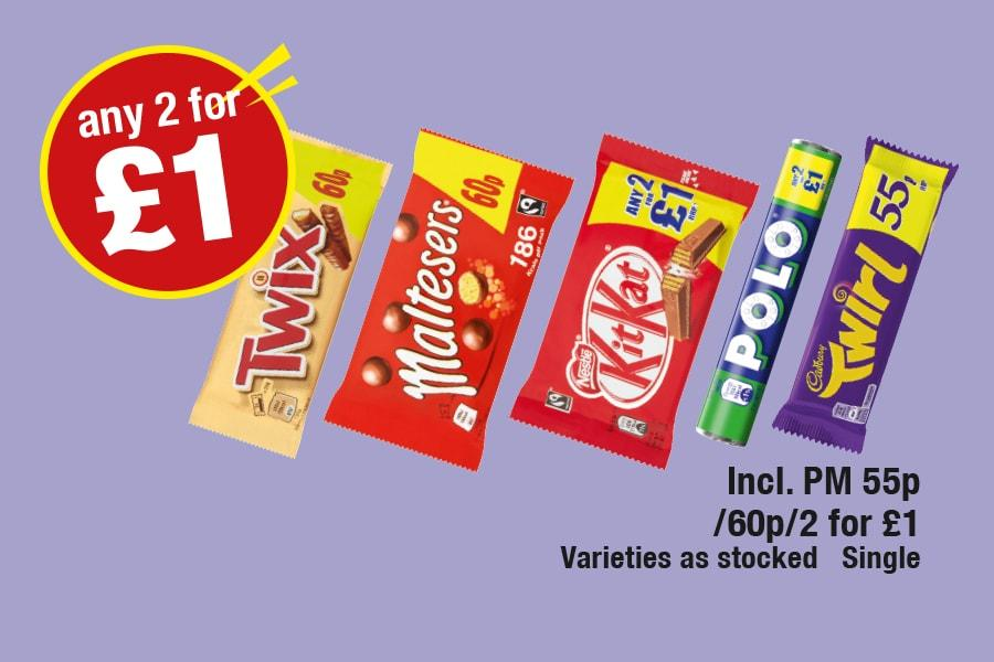 Any 2 for 1 - Twix, Maltesers, KitKat, Polo, Twirl