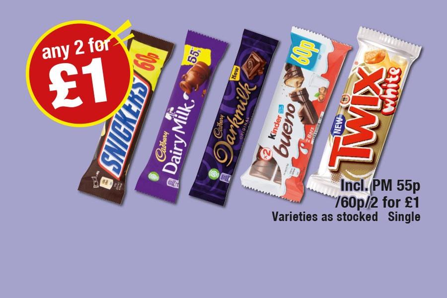 Any 2 for £1 Deal - Snickers, Dairy Milk, Darkmilk, Kinder Bueno, Twix White