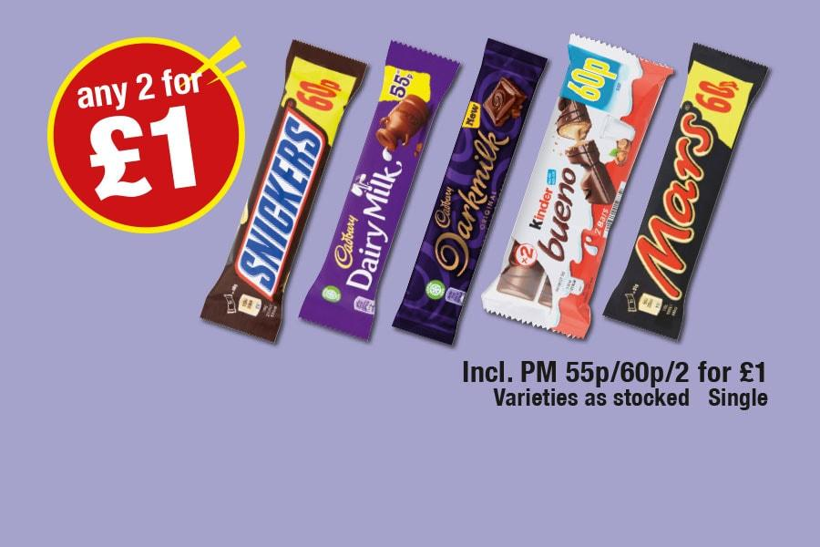 Snickers, Dairy Milk, Darkmilk, Kinder Bueno, Mars - Any 2 for £1 at Premier