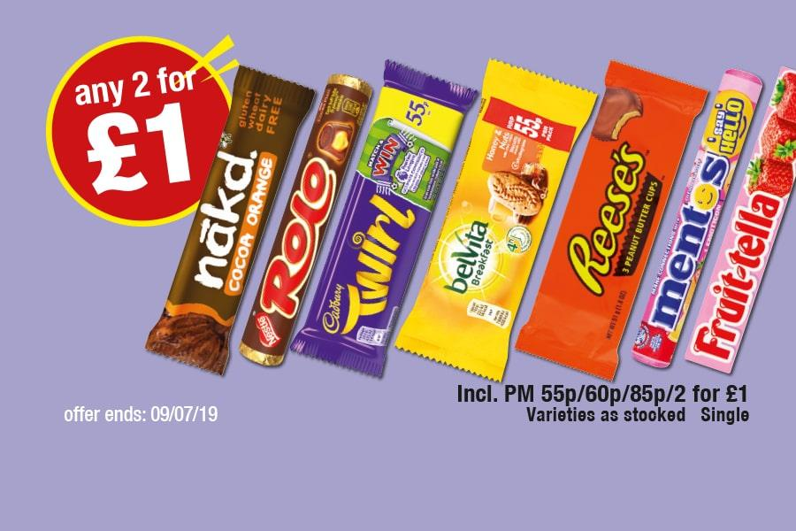 Any 2 for £1 Confectionery - Nakd Coca Orange, Rolo, Twirl, Belvita Breakfast Biscuits, Reese's Peanut Butter Cups, Mentos, Fruit-tella