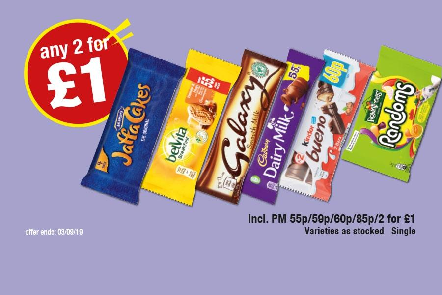 Jaffa Cakes, Belvita Breakfast Bars, Galaxy, Cadbury Dairy Milk, Kinder Bueno, Rowntree's Randoms - Any 2 for £1 at Premier