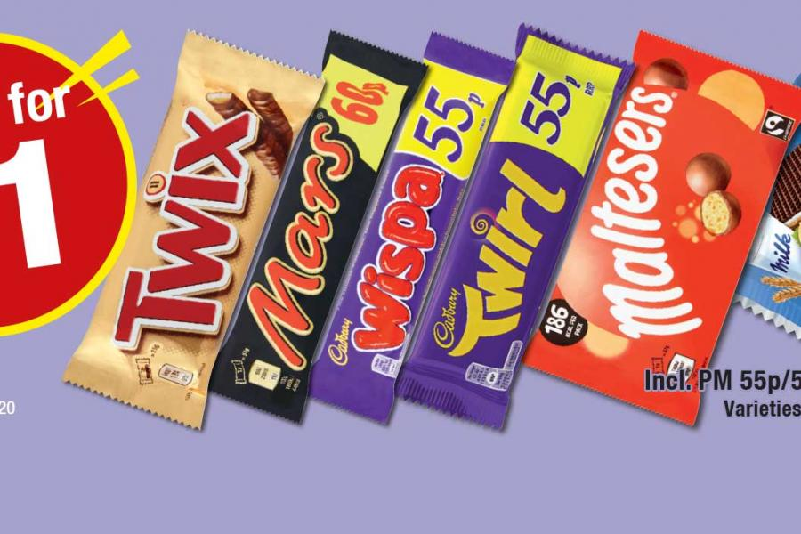 Any 2 for £1 on Selected Confectionery at Premier