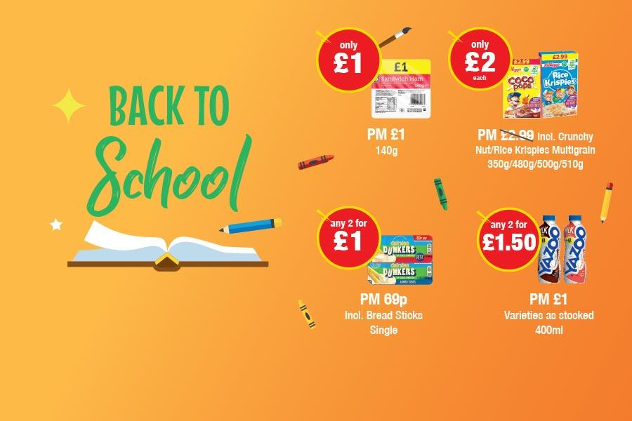 BACK TO SCHOOL: Ham 140g - Only £1. Kelloggs Coco Pop, Rice Crispies - Only £2 each. Dairylea Dunkers - Any 2 for £1. Yazoo 400ml - Any 2 for £1.50 at Premier