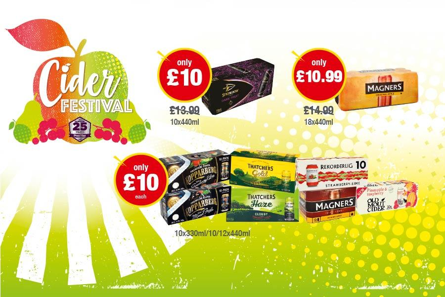 CIDER FESTIVAL: Strongbow Dark Fruit 10x440ml - Only £10. Magners 18x440ml - Only £10.99. Old Mout Cider, Rekorderlig, Magners, Kopparberg, Thatchers Gold/Haze -Only £10 each at Premier