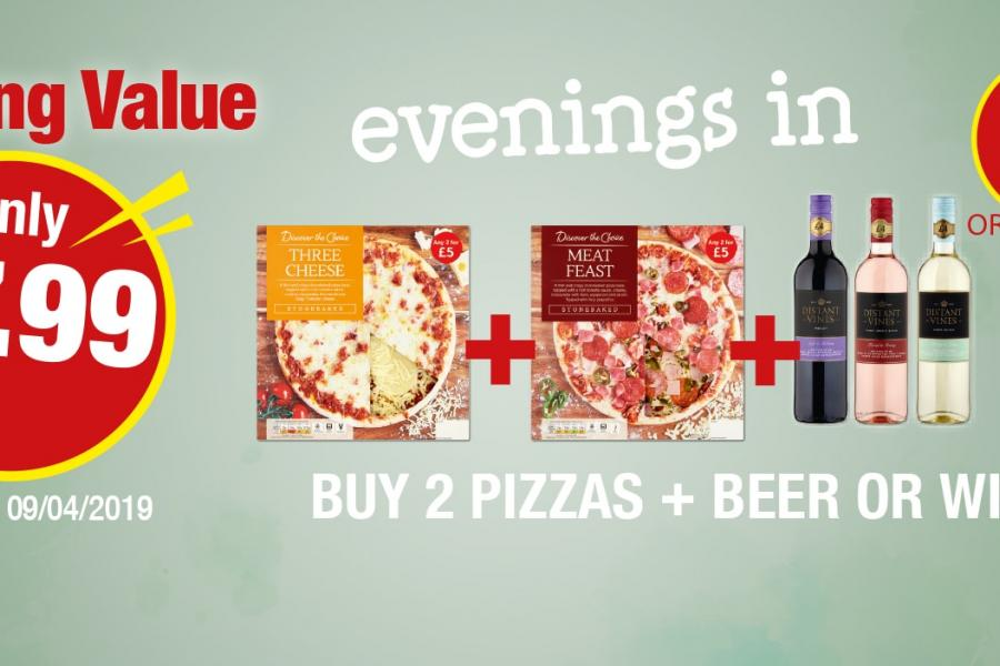 Amazing Value Evenings In: Buy 2 Pizzas + Beer or Wine - Only £7.99 at Premier