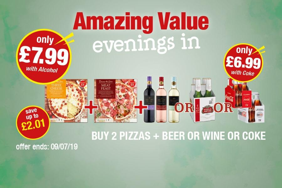 Amazing Value Evenings In: Buy 2 Pizzas + Wine or beer or Coke - Only £7.99 with Alcohol, £6.99 with Coke at Premier