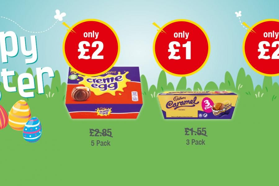 HAPPY EASTER: Creme Egg 8 Pack - Only £2, Caramel Egg 3 Pack - Only £1, Dairy Milk Bunny - Only £2 at Premier