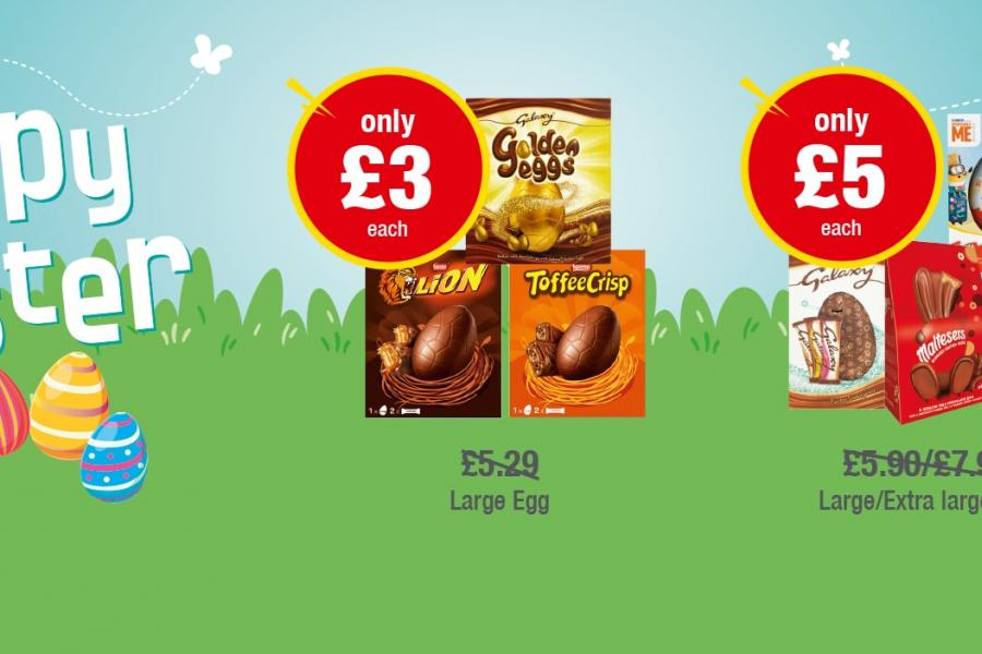 HAPPY EASTER: Galaxy Golden Eggs, Lion Bar, Toffee Crisp Large Eggs - Only £3 each, Kinder Suproise, Galaxy, Malteasers Bunnies, M&M's  Large/Extra Large Eggs - Only £5 each at Premier