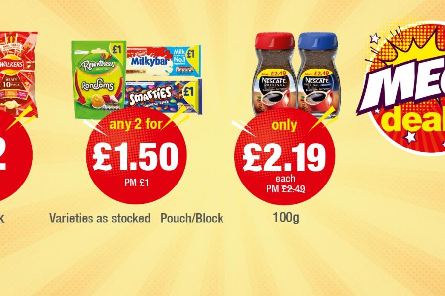 MEGA DEALS: Walkers Variety 10 Pack - £2 each, Rwontrees Randoms, Milkybar, Smarties - Any 2 for £1.50, Nescafe - Only £2.19 each at Premier