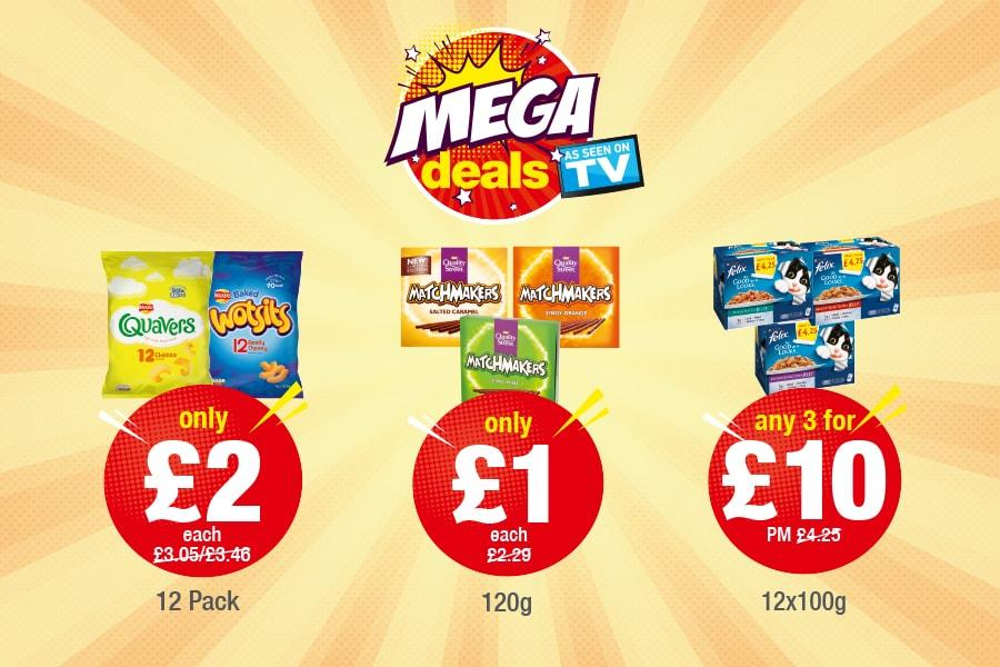 Mega Deals - Quavers: Only £2, Matchmakers: Only £1, Felix: Any 3 for £10