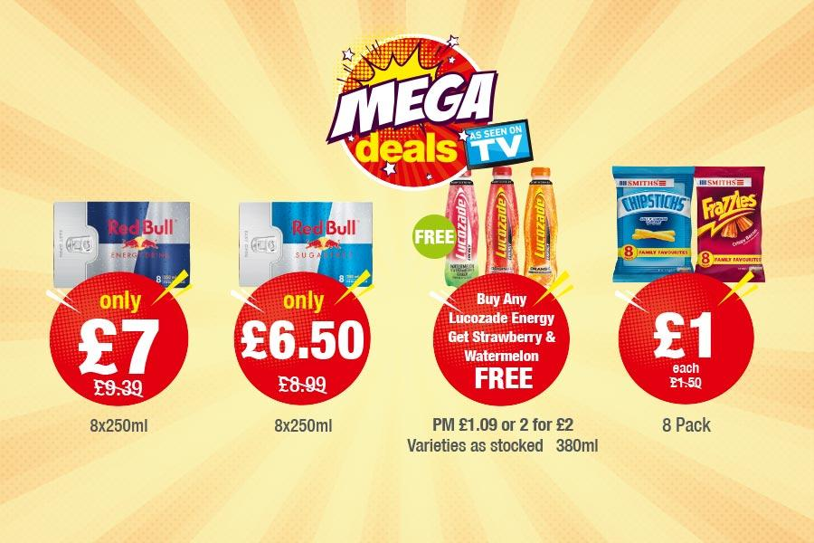 MEGA DEALS: Red Bull 8x250ml - Only £7. Red Bull Sugar Free - Only £6.50. Buy Any  Lucozade Energy Get Strawberry & Watermelon  Free. Chipsticks, Frazzles 8Pack - £1 Each at Premier