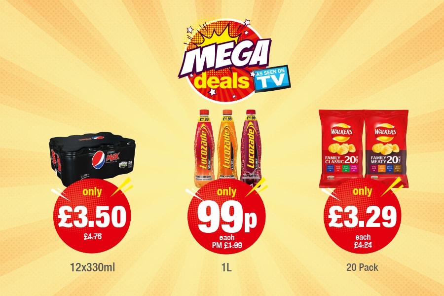 Mega Deals: Pepsi Max - Only £3.50, Lucozade - Only 99p, Walkers Variety Only £3.29