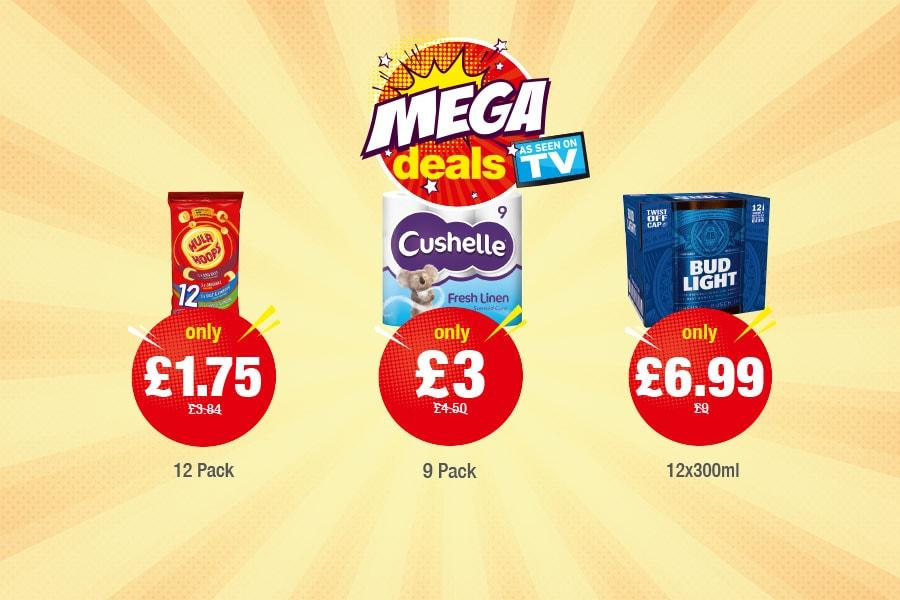 MEGA DEALS: Hula Hoops Variety 12 Pack - Only £1.75, Cushelle Fresh Linen - Only £3, Bud Light - Only £6.99 at Premier