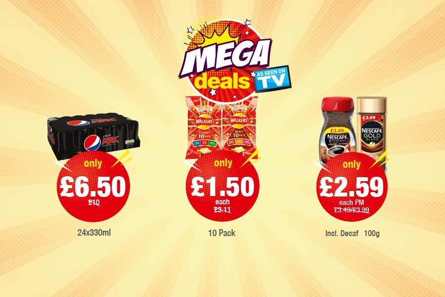 MEGA DEALS: Pepsi Max 24x330ml - Only £6.50. Walkers Classic/Meaty 10 Pack - Only £1.50 each, Nescafe Original/Gold Blend - Only £2.59 each at Premier