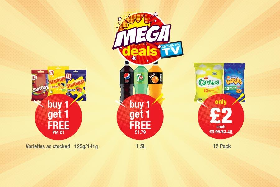 MEGA DEALS: Skittles, Starburst 125g-141g - Buy 1 get 1 free. Pepsi Max, 7up, Tango 1.5L - Buy one get one Free. Quavers, Wotsits 12 Pack - Only £2 each at Premier