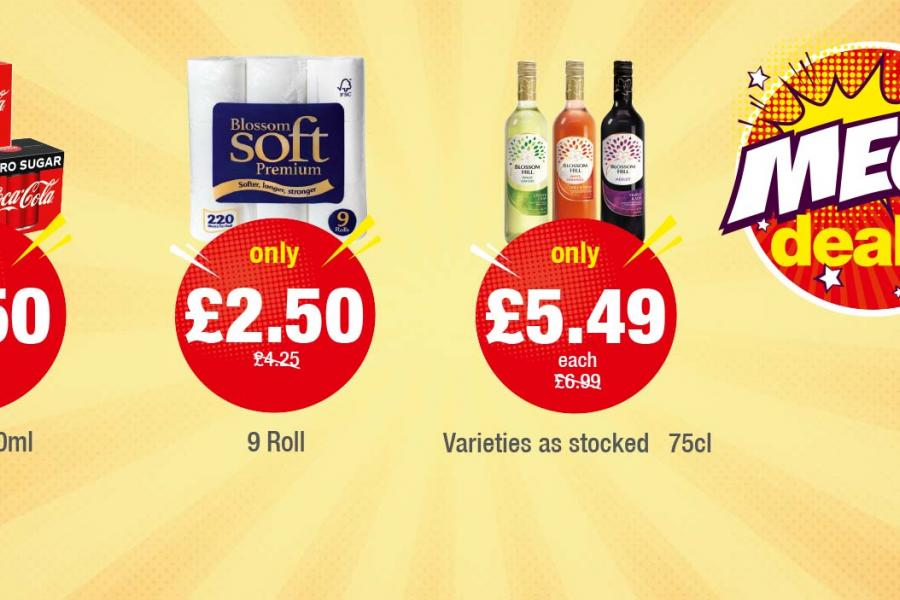 Coca Cola, Diet Coke, Coca Cola Zero 18/24x330ml - Only £7.50 each. Blossomsoft Toilet Tissue 9 Roll - Only £2.50. Blossom Hill Wine -Only £5.49 each at Premier