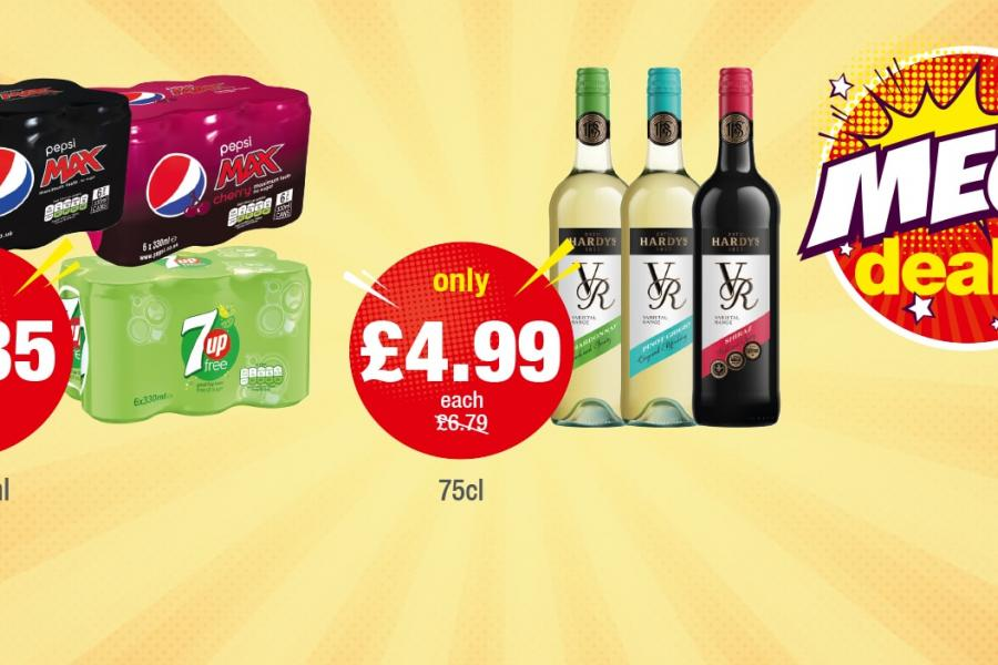 MEGA DEALS: Pepsi Max Original/Cherry, 7UP 6 Pack - Only £1.85 each, Hardys VR - Only £4.99 each at Premier