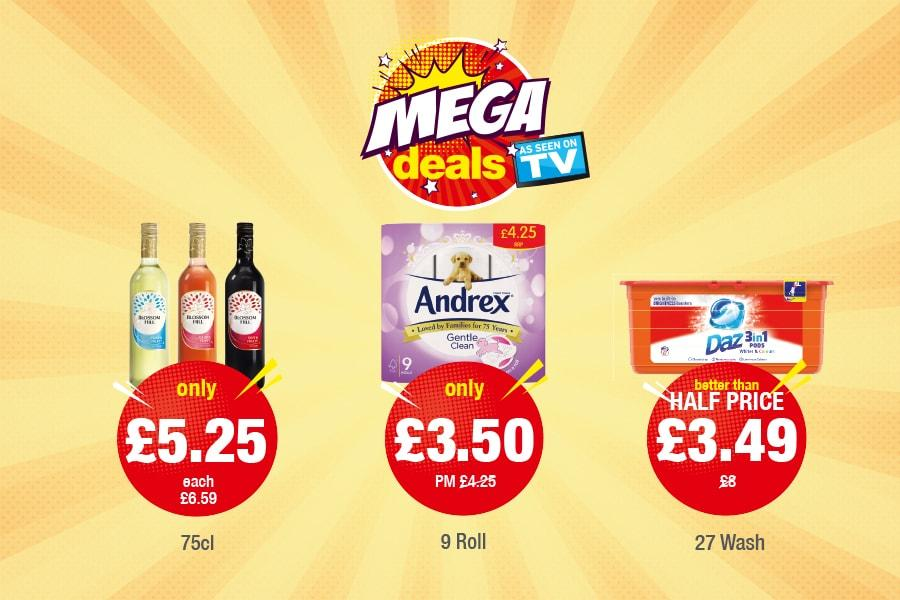 Mega Deals: Blossom HIll - Only £5/25, Andrex Gentle Clean - Only £3.50, Daz Pods - £3.49