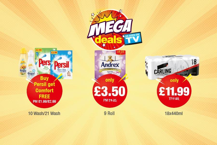 MEGA DEALS: Comfort/Persil 10/21 Wash - Buy Persil Get Comfort Free, Andrex Gentle Clean 9 Roll - Only £3.50, Carling 18x440ml - £11.99 at Premier