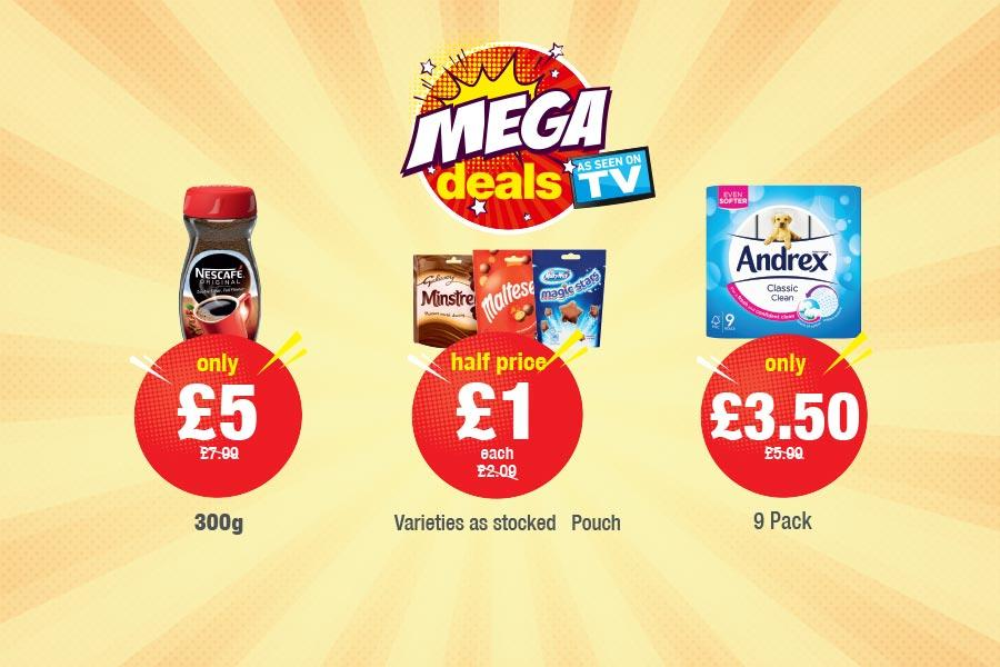 MEGA DEALS: Galaxy Minstrels, Maltesers, Magic Stars Pouch - Half Price £1. Nescafe Original 300g - Only £5. Andrex Classic Clean 9 Pack - Only £3.50 at Premier
