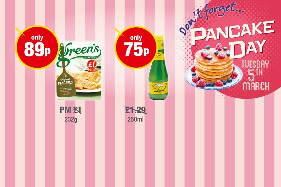 PANCAKE DAY: Green's Pancake Mix - Only 89p, Jif Lemon - Only 75p at Premier