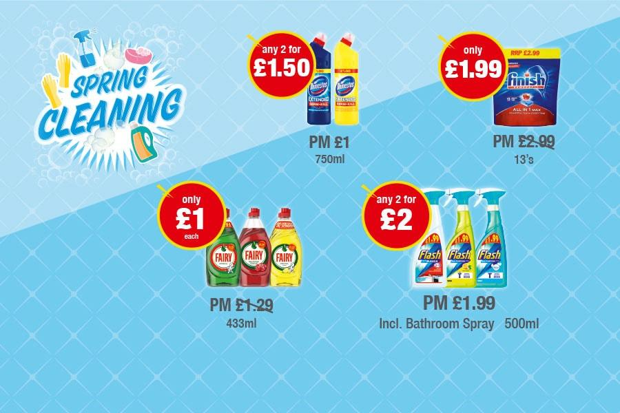 SPRING CLEANING: Domestos - Any 2 for £1.50, Finish 13's - Only £1.99, Fairy Liquid - Only £1 each, Flash Spray - Any 2 for £2 at Premier