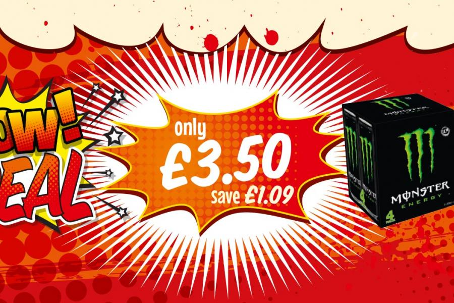 WOW DEAL: Monster Energy 4 Pack - Only £3.50 at Premier