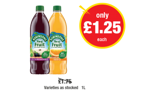 Robinsons Real Fruit Apple & Blackcurrant, Orange, Varieties as stocked - Was £1.75 - Now only £1.25 each at Premier