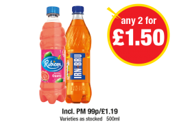 Rubicon Watermelon, Irn Bru, Varieties as stocked - Incl. PM 99p/£1.19 - Any 2 for £1.50 at Premier
