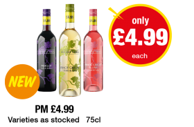 Distant Vines Merlot, Pinot Grigio, Pinot Grigio Blush - Now only £4.99 each at Premier