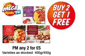 MEGA DEALS: Discover the Choice Spicy Chickpea & Cauliflower Curry, Sweet & Sour Chicken, Beef Stew & Dumplings - Buy 2 Get 1 Free at Premier