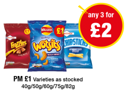 Frazzles, Walkers Wotsits, Chipsticks - PM £1 - Any 2 for £2 at Premier