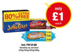 McVities Jaffa Cakes, Digestives Milk Chocolate, Hobnobs Milk Chocolate - Was PM £1.65 - Now only £1 each at Premier