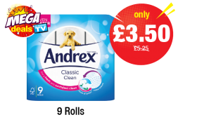 MEGA DEALS: Andrex Classic Clean White - Was £5.25 - Now only £3.50 at Premier