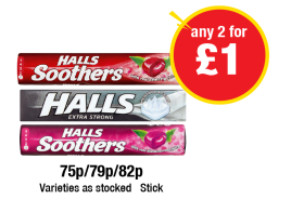 Halls Soothers Strawberry, Cherry, Extra Strong, Varieties as stocked - 75p/79p/82p - Any 2 for £1 at Premier