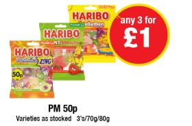 Haribo Dummies, Giant Strawbs, Jellymen, Varieties as stocked - PM 50p - Any 2 for £1 at Premier