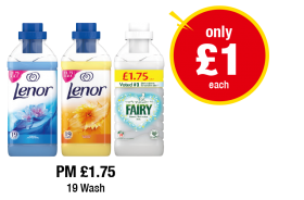 Lenor Fabric Conditioner Spring Awakening, Summer Breeze, Fairy Fabric Conditioner - Was PM £1.75 - Now only £1 each at Premier