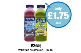 Naked Blue Machine, Green Machine Drink, Varieties as stocked -  Was £2.99 - Now only £1.75 each at Premier