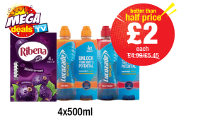 MEGA DEALS: Ribena Blackcurrant Multipack, Lucozade Sport Orange, Raspberry - Was £4.99,£5.45 - Now only £2 each at Premier
