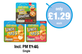 Dairylea Lunchables Streetfood Pizza, Chicken N Cheese, Ham N Cheese - Incl. Was PM £1.65 - Now only £1.29 each at Premier