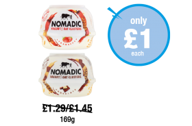 Nomadic Yogurt & Oats Crunchy Clusters Strawberry, Chocolate - Was £1.29, £1.45 - Now only £1 each at Premier