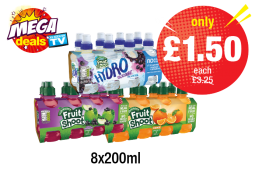 MEGA DEALS: Robinsons Fruit Shoot Apple & Blackcurrant, Orange, Hydro Blackcurrant - Was £3.25 - Now only £1.50 each at Premier