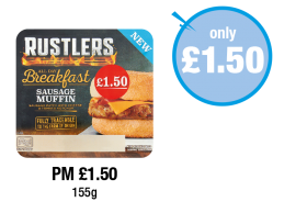 Rustlers Breakfast Sausage Muffin - PM £1.50 - Now only £1.50 at Premier
